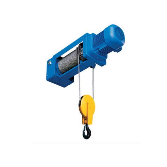 Foot-mounted wire rope hoist (1/2 rope reeving)