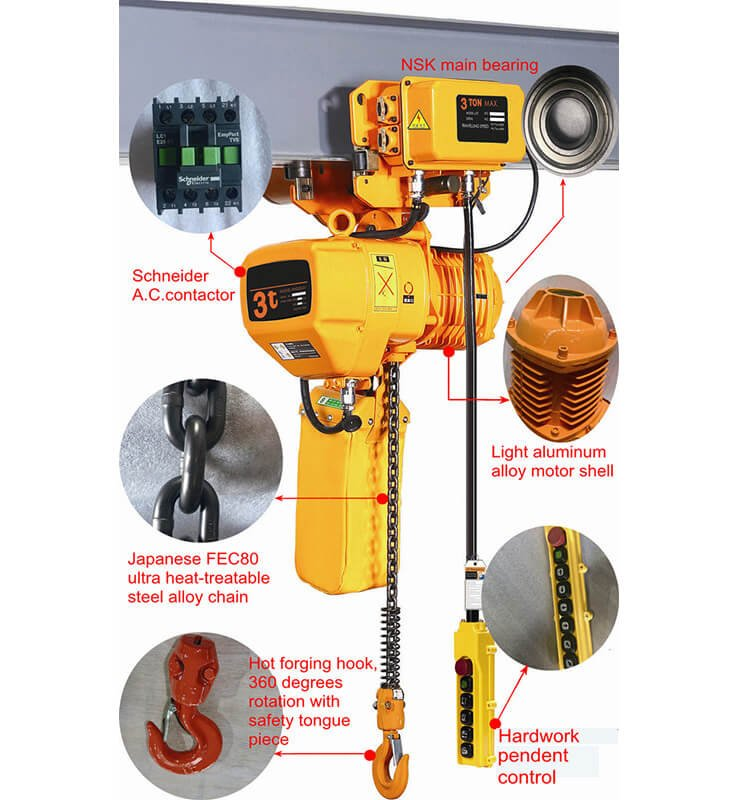 electric chain hoist with motor trolley