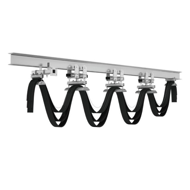 Festoon system cable trolley on I-beam and wire rope and angle steel